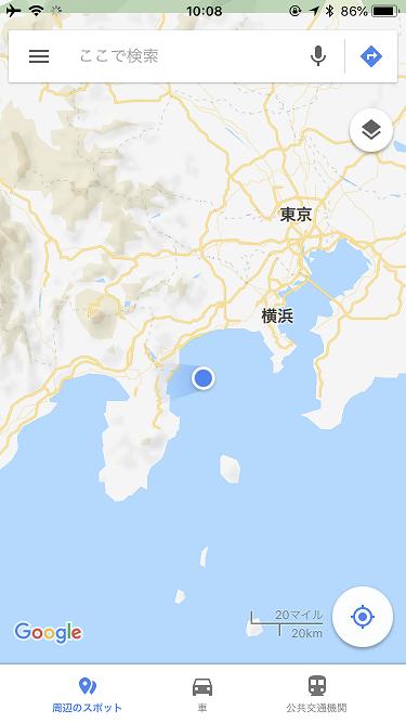 JAL国内線機内WiFiサービスを利用中のマップ