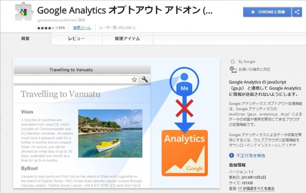 GoogleanAlyticsオプトアウトアドオン